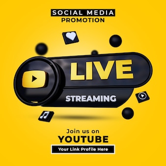 Suivez-nous sur youtube bannière de médias sociaux en direct avec logo 3d et profil de lien