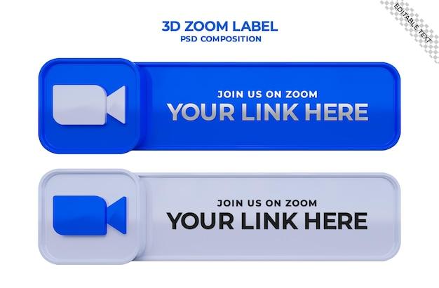 Suivez-nous sur zoom meeting bannière carrée de médias sociaux avec logo 3d et boîte de profil de lien