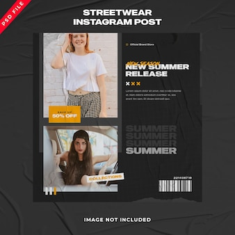 Summer urban fashion streetwear bannière instagram post