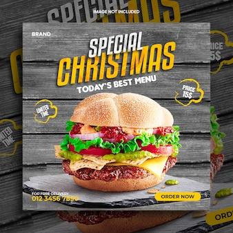 Super délicieux burger alimentaire noël offre modèle de conception de poste instagram