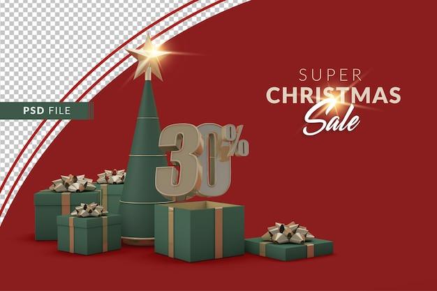 Super vente de noël 30 pour cent avec sapin de noël et coffret cadeau