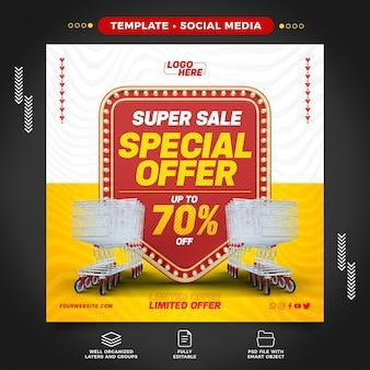 Supermarché de médias sociaux avec offre spéciale jusqu'à 70 rabais