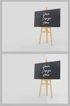 Support de chevalet en bois avec maquette d'affichage de tableau horizontal
