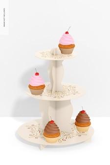 Support à cupcakes en carton à 3 niveaux avec maquette murale