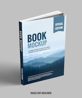 Support de livre bleu et propre avec maquette de vue de face