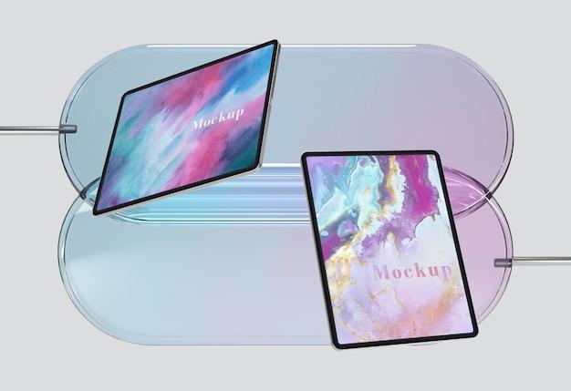 Support en verre transparent avec tablettes