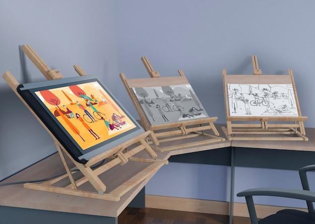 Supports de peinture avec dessin artistique