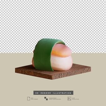 Sushi de cuisine japonaise de style argile avec illustration 3d d'algues