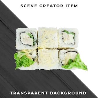 Sushi isolé avec un tracé de détourage.