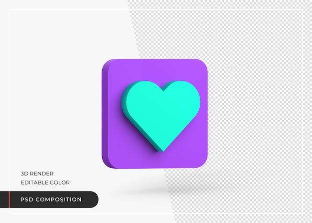 Symbole de l'amour comme le rendu réaliste de l'icône 3d de coeur