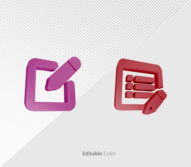 Symbole d'édition 3d ou modèle psd d'icône avec couleur modifiable