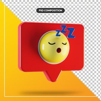 Symbole emoji de visage endormi dans la bulle de dialogue
