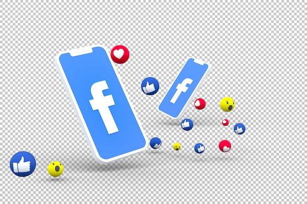 Symbole facebook sur smartphone à l'écran ou mobile et réactions facebook amour, wow, comme le rendu 3d emoji