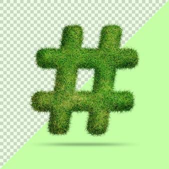 Symbole de hashtag avec de l'herbe 3d réaliste