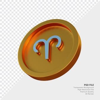 Symbole de l'horoscope du zodiaque bélier sur l'illustration 3d de la pièce d'or