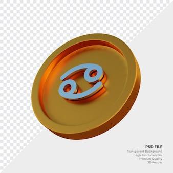 Symbole de l'horoscope du zodiaque du cancer sur l'illustration 3d de la pièce d'or