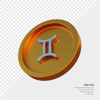 Symbole de l'horoscope du zodiaque des gémeaux sur l'illustration 3d de la pièce d'or