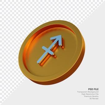 Symbole de l'horoscope du zodiaque sagittaire sur l'illustration 3d de la pièce d'or