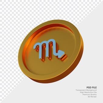 Symbole de l'horoscope du zodiaque scorpion sur illustration 3d de la pièce d'or