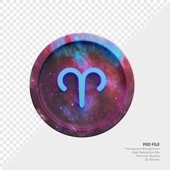 Symbole de l'horoscope du zodiaque verseau sur l'illustration 3d de la pièce étoile