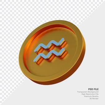Symbole de l'horoscope du zodiaque verseau sur l'illustration 3d de la pièce d'or