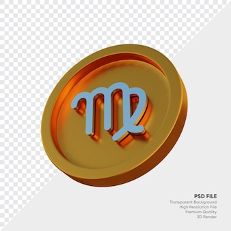 Symbole de l'horoscope du zodiaque vierge sur l'illustration 3d de la pièce d'or