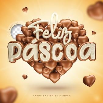 Symbole de joyeuses pâques 3d en brésilien réaliste en forme de coeur avec du chocolat
