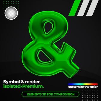 Symbole réaliste un alphabet métallique dans le rendu 3d