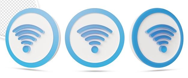 Symbole de réseau sans fil wifi dans la conception de rendu 3d
