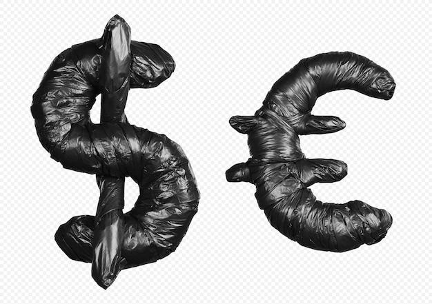 Symboles d'alphabet de sac poubelle noir isolés