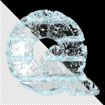 Symboles en glace sur fond transparent. lettre 3d q