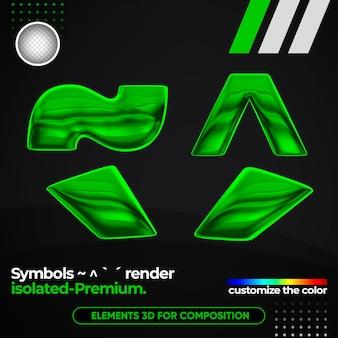 Symboles réalistes un alphabet métallique dans le rendu 3d