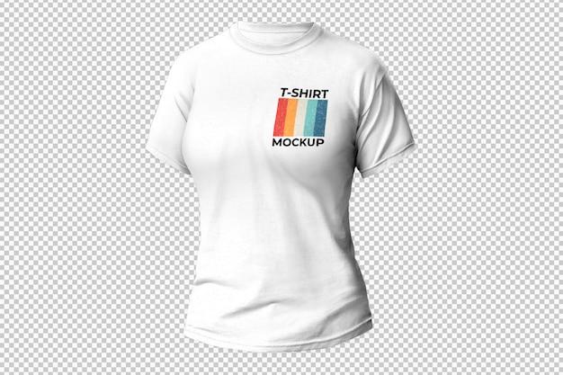 T-shirt blanc pour femme sur surface transparente