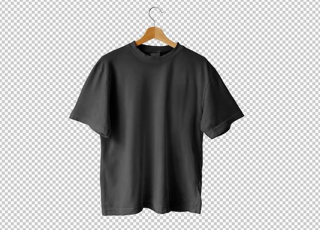 T-shirt noir isolé ouvert