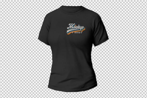 T-shirt noir pour femme sur surface transparente