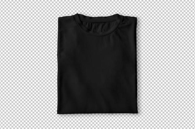 T-shirt plié noir isolé