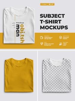 T-shirts avant des maquettes.