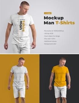 T-shirts maquettes sur l'homme