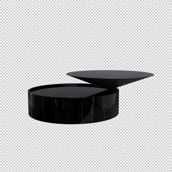 Table basse noir isolé sur fond blanc
