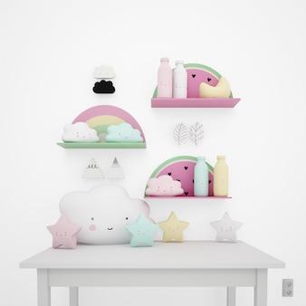 Table blanche décorée d'objets pour enfants, de nuages kawaii et d'étoiles