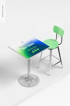 Table haute carrée avec maquette de chaise