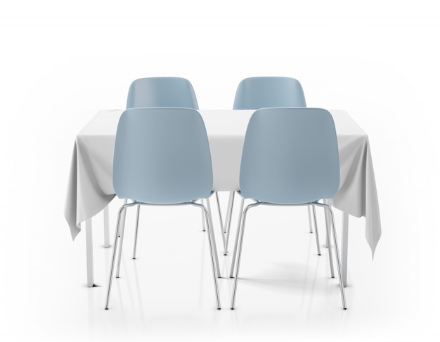 Table avec nappe et chaises