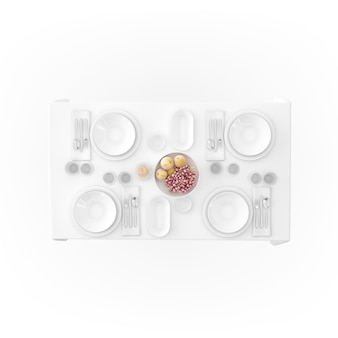Table avec nappe et vaisselle
