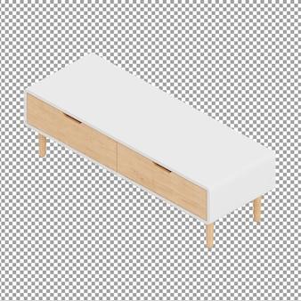 Table tv isométrique avec tiroirs