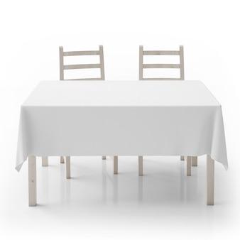 Table vide et chaises isolées