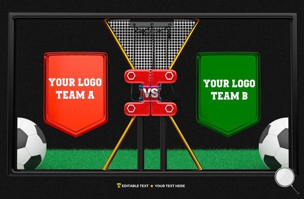 Tableau de bord de rendu 3d pour la compétition de joueurs d'équipe