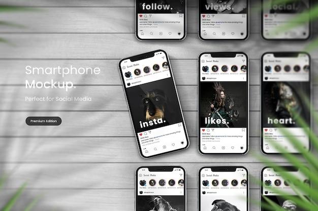 Tableau de maquette de smartphone pour afficher la publication instagram