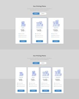Tableau de tarification minimal pour le web