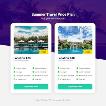 Tableau des tarifs des voyages d'été