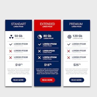 Tableaux de prix colorés web mobile ui